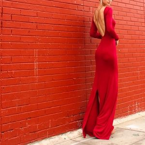 Lk NEW Satin Jersey Red Backless Dress Bodycon S